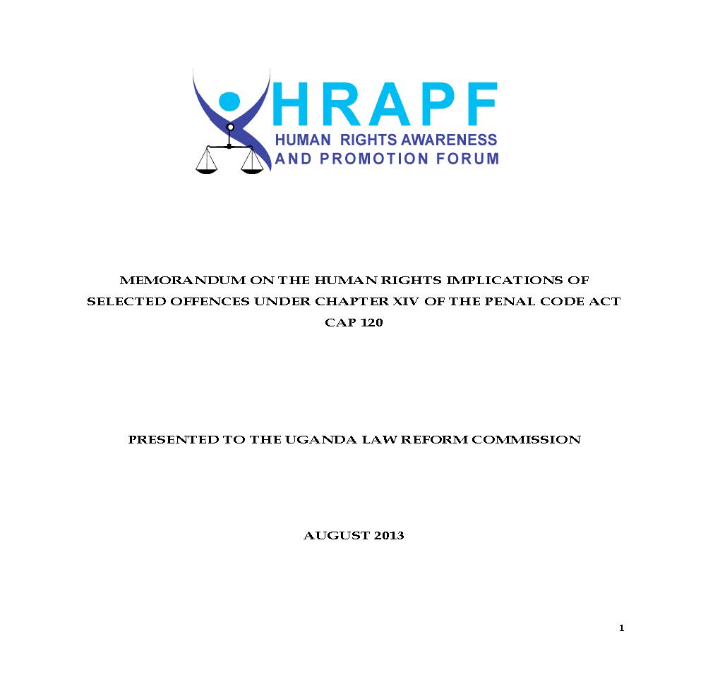 HRAPF's Submission to the Uganda Law Reform Commission on the Review of the Penal Code Act