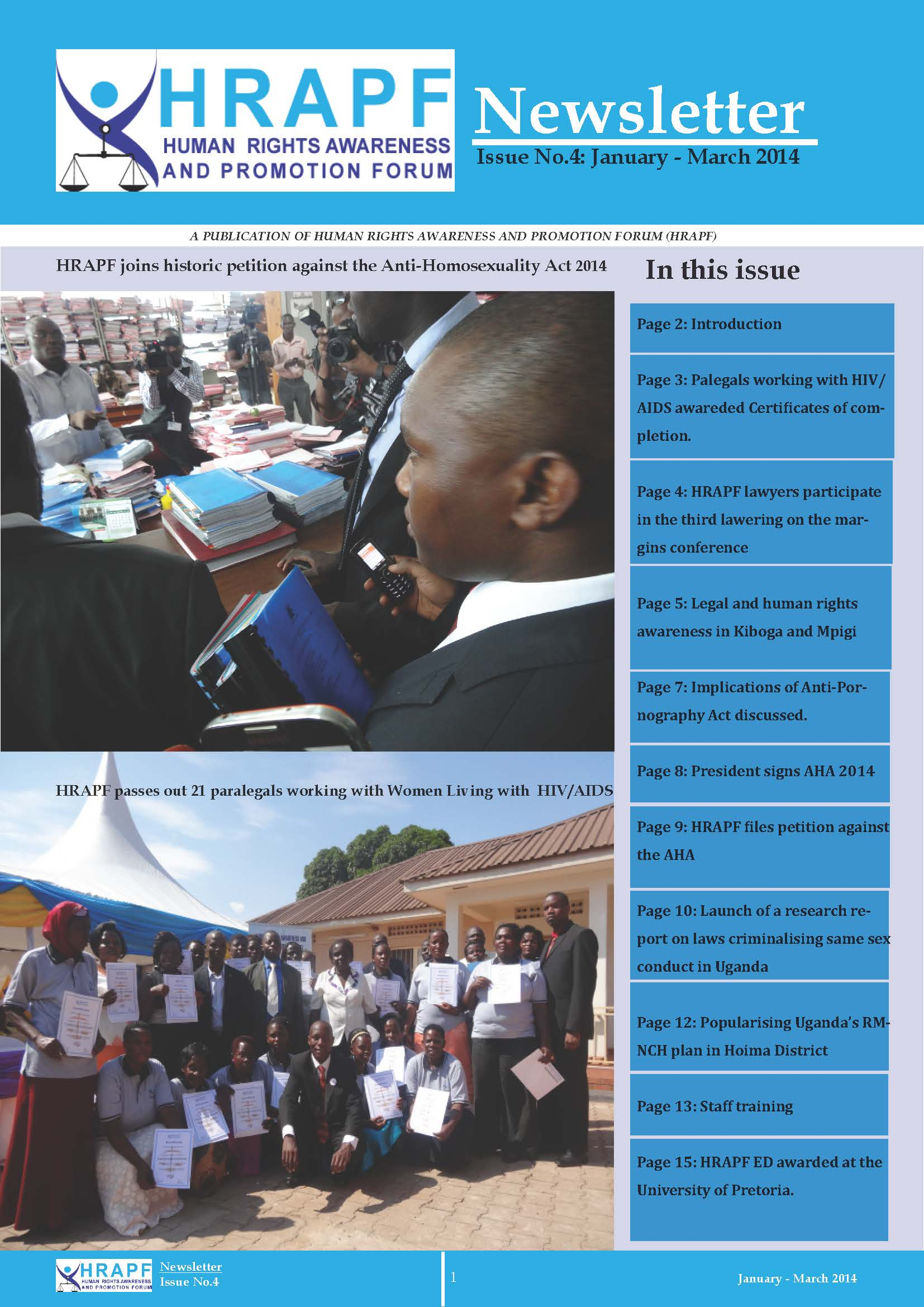 Hrapf newsletter fourth issue