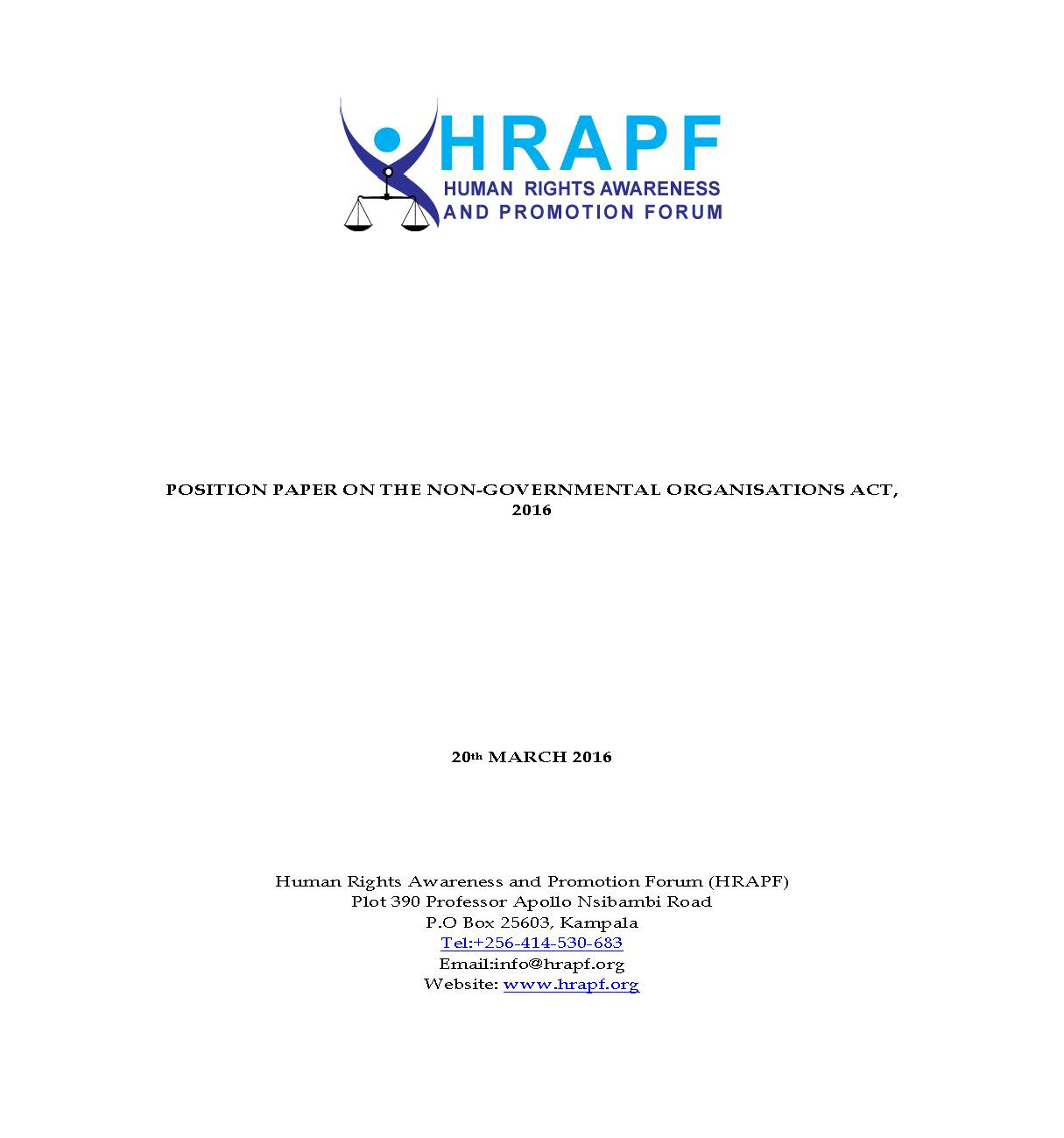 HRAPF's Position Paper on the NGO Act 2016
