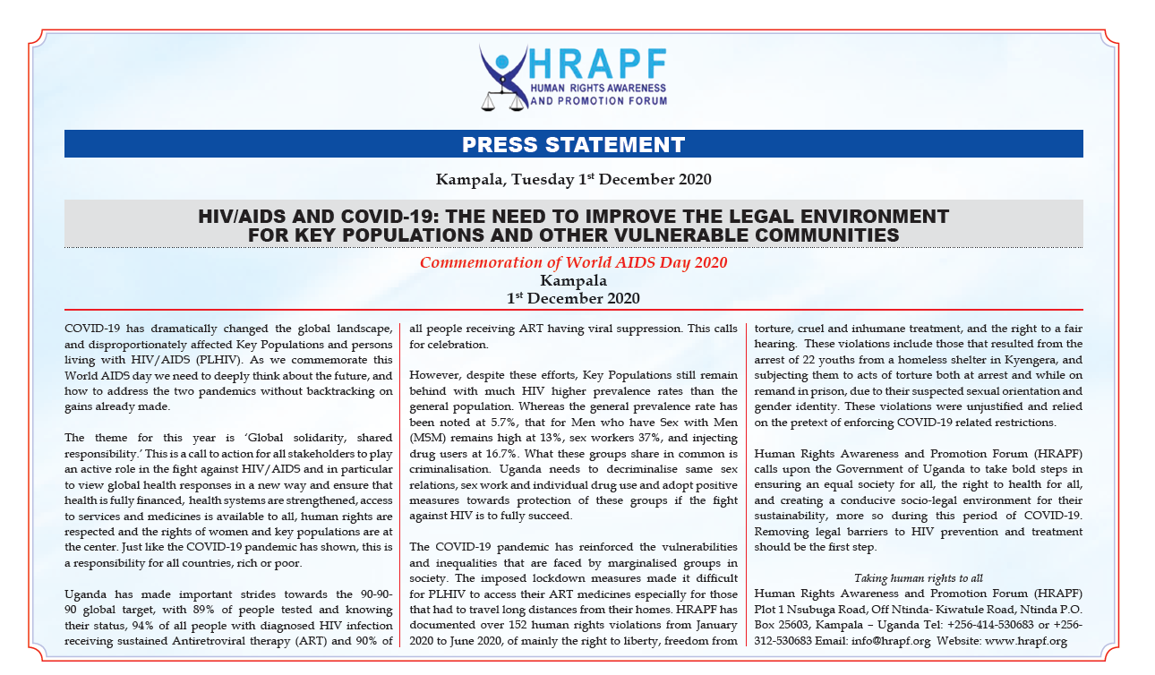 HRAPF's Statement on the World AIDS day 2020