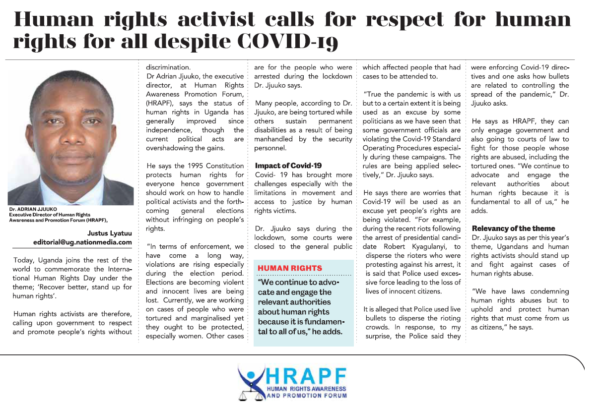 HRAPF's Statement on the International Human Rights day, 2020