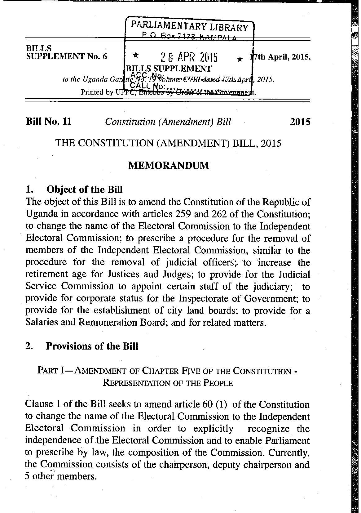 Constitution Amendment bill 2015