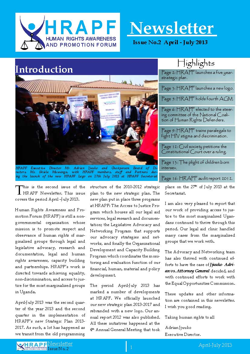 Hrapf newsletter second issue 2013