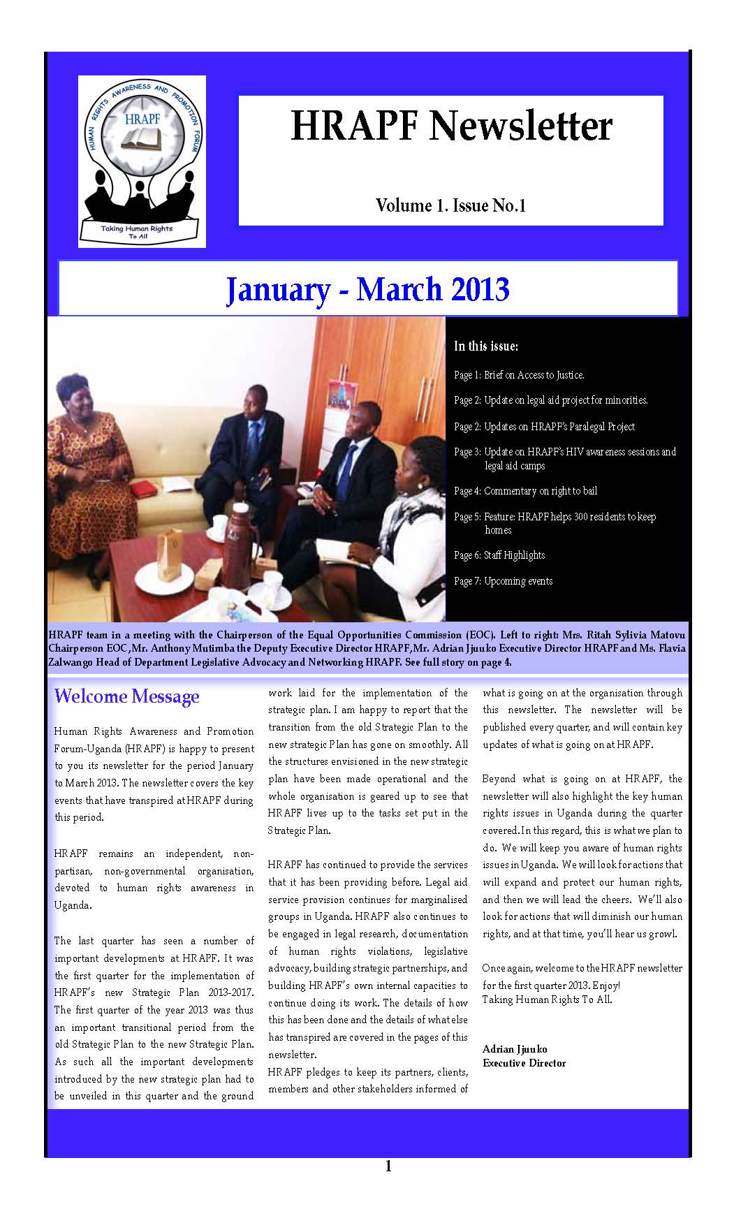 First issue of the HRAPF Newsletter